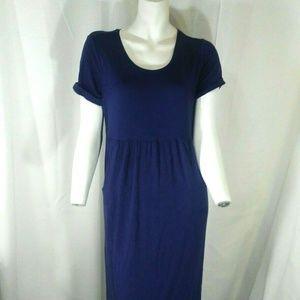 J Jill Long Purple Short Sleeve Casual Dress XSP
